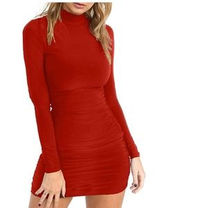 Red Slim Fit Dress with rouched backing